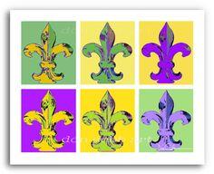 New Orleans Mardi Gras Fleur de Lis Art Print On by DonshanArt, $20.00