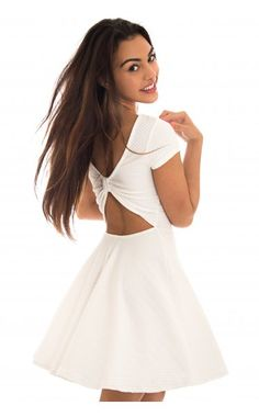 White Skater Dress with Cutout Open Bow Back