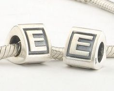 CLLE02-E 925 Sterling Silver Triangle Alphabet letter E Pandora Charms beads Pandora Letters