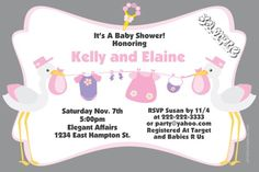 Clothesline Stork Baby Shower Invitations Pink - Get these invitations RIGHT NOW. Design yourself online, download and print IMMEDIATELY! Or choose my printing services. No software download is required. Free to try!