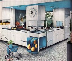 Like the colors and the painted ceiling. The corner cabinet for pots and pans. Cute grocery cart too, but I would need a much bigger one!
