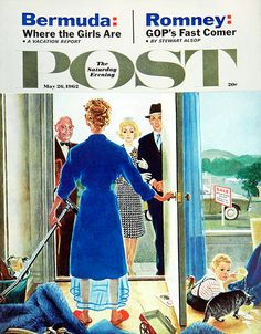 """Saturday Evening Post cover illustration """"Home Showing"""" by George Hughes. 26 May 1962"""