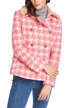 Women's Court & Rowe Houndstooth Peacoat, Size X-Large - Pink Sperrys Women, Long Puffer Coat, Faux Fur Collar, Fur Collars, Winter Sweaters, Winter Coats, Winter Trends, Houndstooth, Long Sleeve Sweater