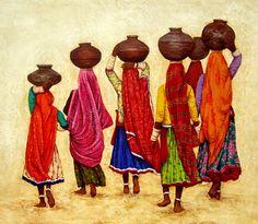 art for online sale. Rajasthani Painting, Rajasthani Art, Indian Traditional Paintings, Indian Art Paintings, Indian Folk Art, Indian Artist, Scrapbooking Image, Wal Art, Art Village
