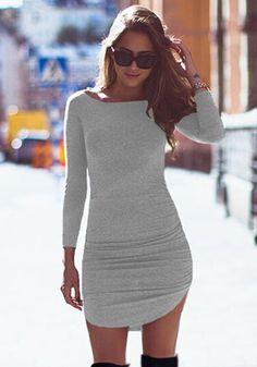 Grey Plain Irregular Collarless Round Neck Long Sleeve Mini Dress