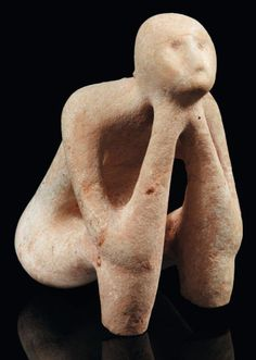 "Rare Neolithic Limestone ""Thinker"" Statue, 5000-4500 BC - Found in the Balkan region"