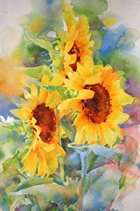 """Sunflowers by Annette Smith Watercolor ~ 20"""" x 14"""""""