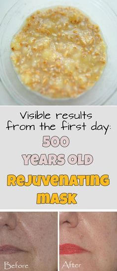 Visible results from the first day: 500 years old rejuvenating mask ~ Beauty Secrets, Diy Beauty, Beauty Hacks, Beauty Tips, Herbal Remedies, Natural Remedies, Homemade Body Butter, Healthy Skin Tips, Natural Makeup