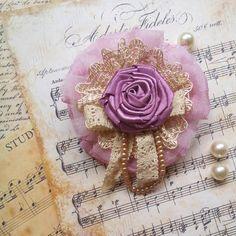 Dusty Pink Lace & Ribbon Brooch..