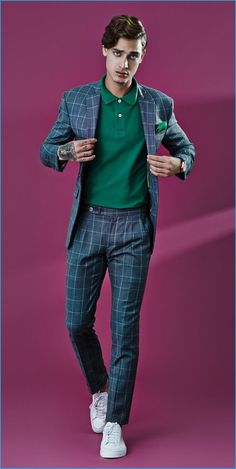 Jonathan Bellini sports a Highstil polo shirt with a windowpane print Alexandre Won suit.