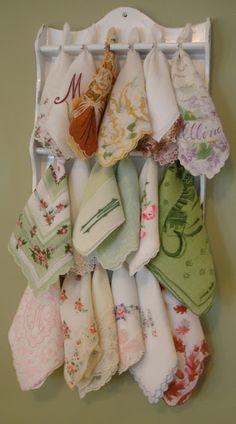 vintage spoon rack to display old handkerchiefs