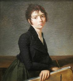 """Girl with Portfolio (c.1799). Guillaume Guillon Lethière (French, 1760–1832). Oil on canvas. Worcester Art Museum. The work is a visual incarnation of fragility —  the porcelain face, exquisitely framed by curling tendrils of hair, of this attractive but not quite beautiful girl who seems to be an aspiring artist as she holds an artist's portfolio and a """"porte-crayon,'' or chalk holder. The girl's gaze is piercingly direct as she wears a fashionable spencer — a short, boyish jacket."""
