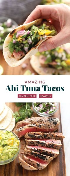 Seared Ahi Tuna Tacos with Mango Guacamole - Fit Foodie Finds