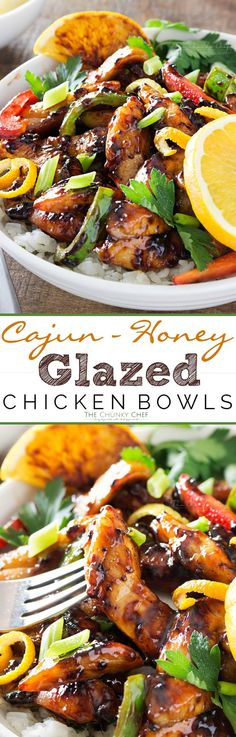 Cajun Honey Glazed Chicken Bowls | This Cajun honey glazed chicken bowl is packed with bright, fresh ingredients! The chicken is actually cooked IN the marinade, allowing for maximum flavor. | thechunkychef.com