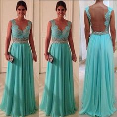 dress blue aqua bridesmaid open back dresses evening dress goingout outweare…