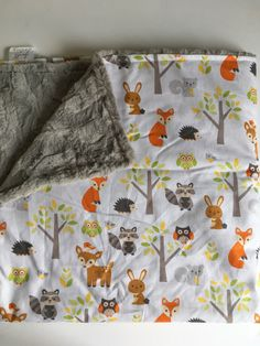 Items similar to Woodland Forest Animal Baby Blanket, fox Baby Blanket, Woodland Nursery, Forest Nursery, minky Blanket Baby Shower Gift owl raccoon on Etsy Boy Baby Shower Themes, Baby Boy Rooms, Baby Boy Nurseries, Baby Boy Shower, Baby Girls, Woodland Animal Nursery, Fox Nursery, Forest Nursery, Woodland Animals