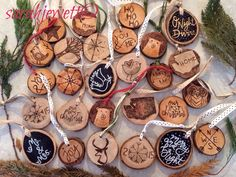 Rustic Wood Slice Christmas Ornaments by sarahjewettart on Etsy