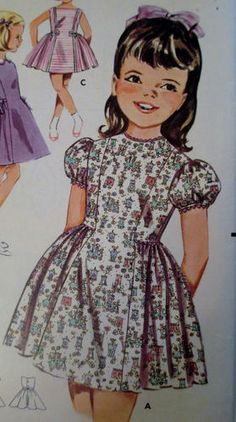 Vtg 1960's School Dress Front Panel Side Gathers Butterick 2194 Girl's Size 6 | eBay