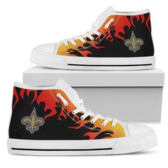 ddbb4fa6d62fd Fire Burning Fierce Strong Logo New Orleans Saints High Top Shoes – Best  Funny Store Nfl