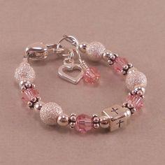 Items similar to Baby Baptism Bracelet Little Girl Jewelry, Baby Jewelry, Kids Jewelry, Jewelry Crafts, Jewelry Making, Cute Bracelets, Handmade Bracelets, Jewelry Bracelets, Diy Schmuck