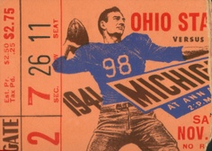 Ohio State football art made from an authentic 1941 Ohio State vs. Michigan football ticket. Available as a Canvas Sports Ticket™ up to 5 feet wide or as a historic football poster.
