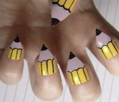 Pencil Nail art idea