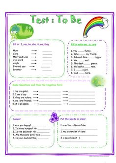 Test VERB TO BE worksheet - Free ESL printable worksheets made by teachers Informations About Test VERB TO BE worksheet - Free ESL printable worksheets made by teachers Pin You can easily use my profi English Grammar For Kids, Teaching English Grammar, English Worksheets For Kids, English Lessons For Kids, Kids English, Grammar Lessons, English Language Learning, English Vocabulary, Learn English