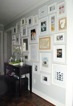 Gallery Wall -The Hallway Full Monty | Young House Love - love this idea @Sherry @ Young House Love - when I finally move house I cant wait to try it!