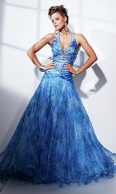 Full length halter print ballgown by Tony Bowls.