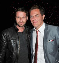 HQ Gerard Butler is pictured with Michael Shannon at the premiere of Ariel Vromen's #TheIceman in L.A., on 04/22/13