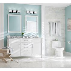 Home Decorators Collection Aberdeen 60 in. W Double Vanity in White with Carrara Marble Top with White Sinks-Aberdeen - The Home Depot Beach House Bathroom, Beach Theme Bathroom, White Bathroom, Modern Bathroom, Beachy Bathroom Ideas, Seafoam Bathroom, Bathroom Colors Blue, Guys Bathroom, Bathroom Chrome