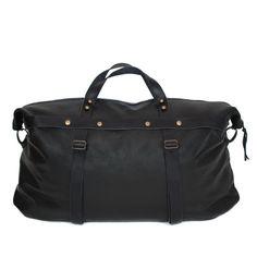 Weekender Bag in Black leather | SPENCER DEVINE