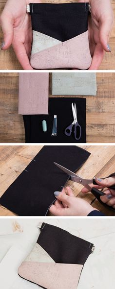 DIY tutorial sewing: sew a pouch with cork details