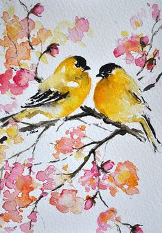 ORIGINAL Watercolor Greeting Card, Yellow Goldfinches, Colorful Pastel Colored Watercolor Flowers, Handmade Greeting Card 4x6 inch