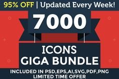 7000 Icons Giga Bundle - 95% OFF by ChamIcon on @creativemarket