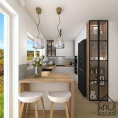 Living Room Kitchen, Home Decor Kitchen, Home Kitchens, Kitchen Decor Themes, Kitchen Bar Design, Kitchen Layout, Interior Design Kitchen, Modern Kitchen Interiors, Cuisines Design