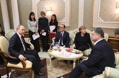 The Russian, French, German and Ukranian leaders shared an awkward tea party meeting befor...
