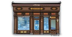 Madrid, Facade, Illustration, Watercolor, Store, Gourmet, Meet, Illustrations, Pen And Wash