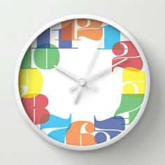 Wall Clock - Colourful Numbers Wall Clock by Whistle&Hum - $30.00