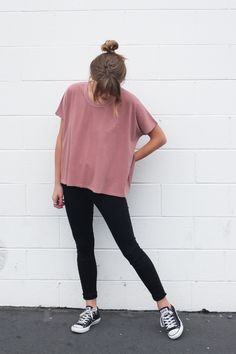 Boxy Fit. - Slightly Cropped. - Color   Washed Dark Rose. Knot Sisters.  Imported. - 100% Cotton Jersey. - Hand Wash Cold. Like Colors Only. b5d3c563d1