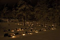 Many Finns visit the local graveyard on Christmas Eve and light candles on the graves of their loved ones - Jämsänkosken hautausmaa by Damork, via Flickr