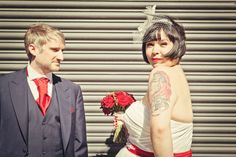 A Retro Red Wedding at The Picturedrome: Jo & Lal Red Wedding, On Your Wedding Day, Wedding Blog, Wedding Tattoos, Tattooed Wedding, Tattooed Brides, Brides With Tattoos, Work Party, Wedding Pinterest