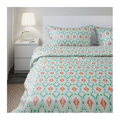 IKEA SOMMAR 2017 quilt cover and 4 pillowcases Concealed press studs keep the quilt in place.
