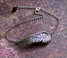 Silver Wing ANKLET w/ Black SWAROVSKI Teardrop Crystal -Adjustable Length- Guardian ANGEL by RevelleRoseJewelry on Etsy, $25.00