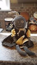 Primitive Fall/Halloween Black Pumpkin Folk Art Doll Sitter