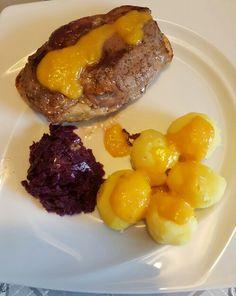 Entenbrust,Rotkohl und Kartoffeln