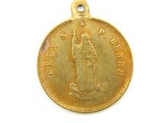 Antique Saint Benedict Exorcism Medal - Bronze Religious Charm - Patron St Catholic Medal - Scapular Medallion - Rosary Charm M96 by LuxMeaChristus on Etsy