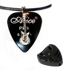 "Black Alice guitar pick necklace + free plectrum holder size 17"" to 19"" inch #Unbranded #Pendant Guitar Pick Necklace, Alice, Personalized Items, Pendant, Free, Pendants"