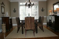 Dining room with seagrass chairs
