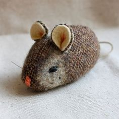 """mouse tweed, on etsy, by Marjii, 3 1/2 """" long before tail, 2 1/2 thick"""